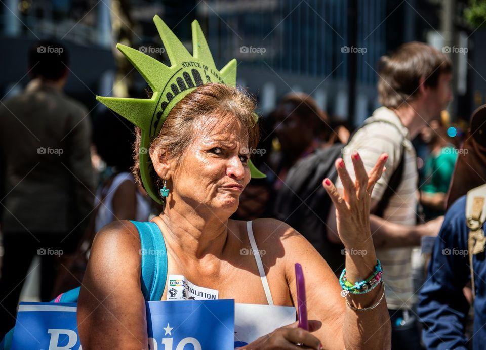 Bernie Sanders supporter at the DNC in Philadephia