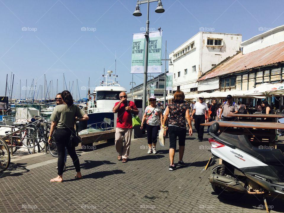 Tourist at harbor