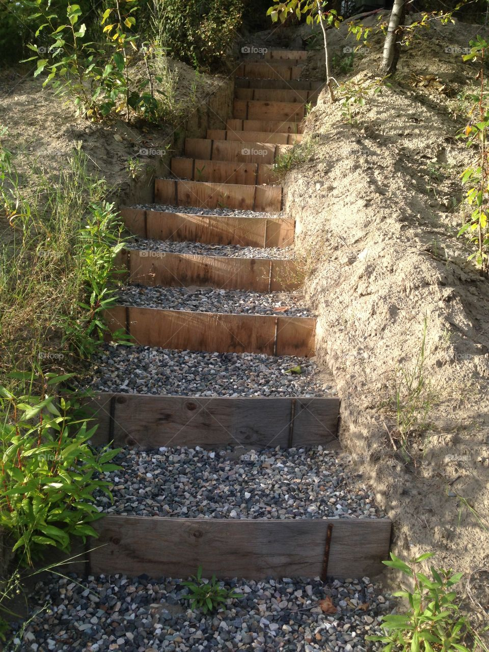 Homemade gravel stairs on a mountain side