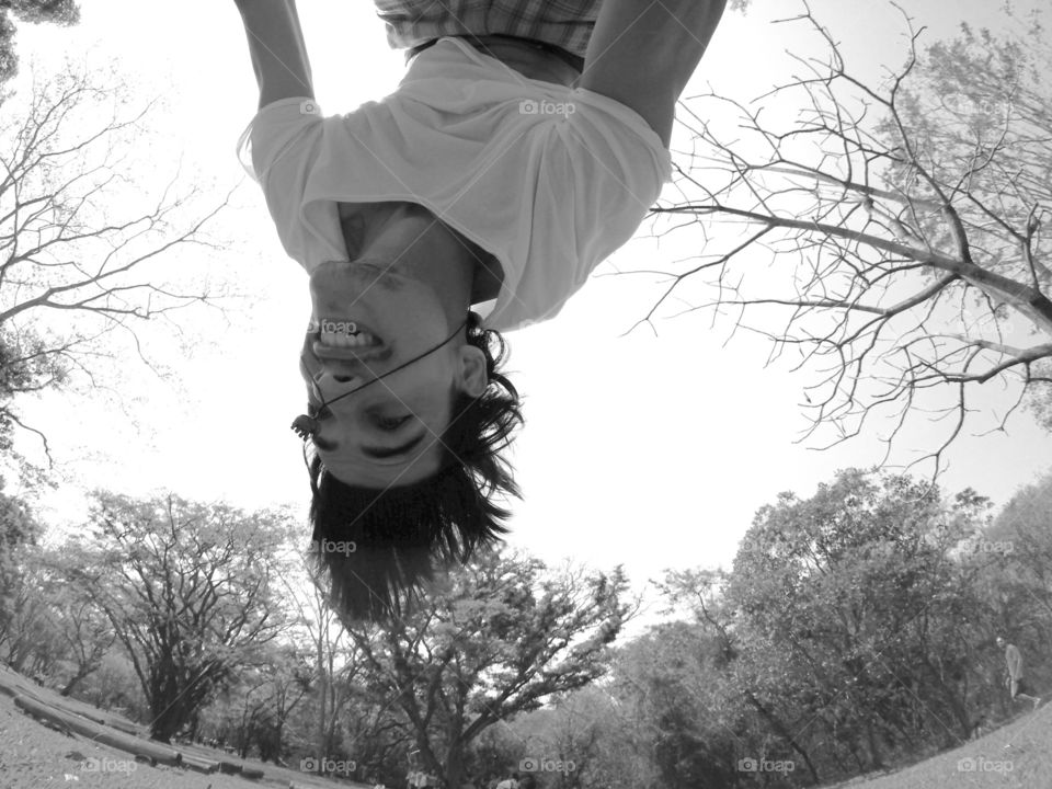 """Upside down. I love to do backflip, why not to take a """"selfie"""" while upside down?"""
