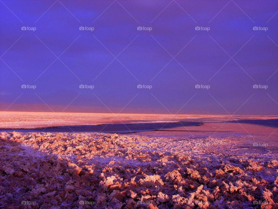 Atacama pink desert under the blue sky
