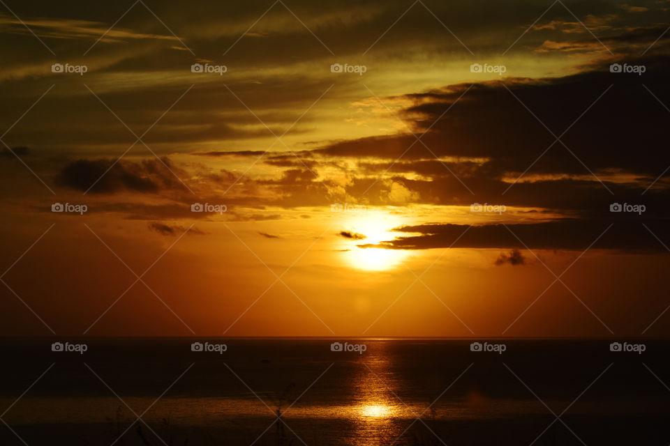 Sunset in Hawaii beach