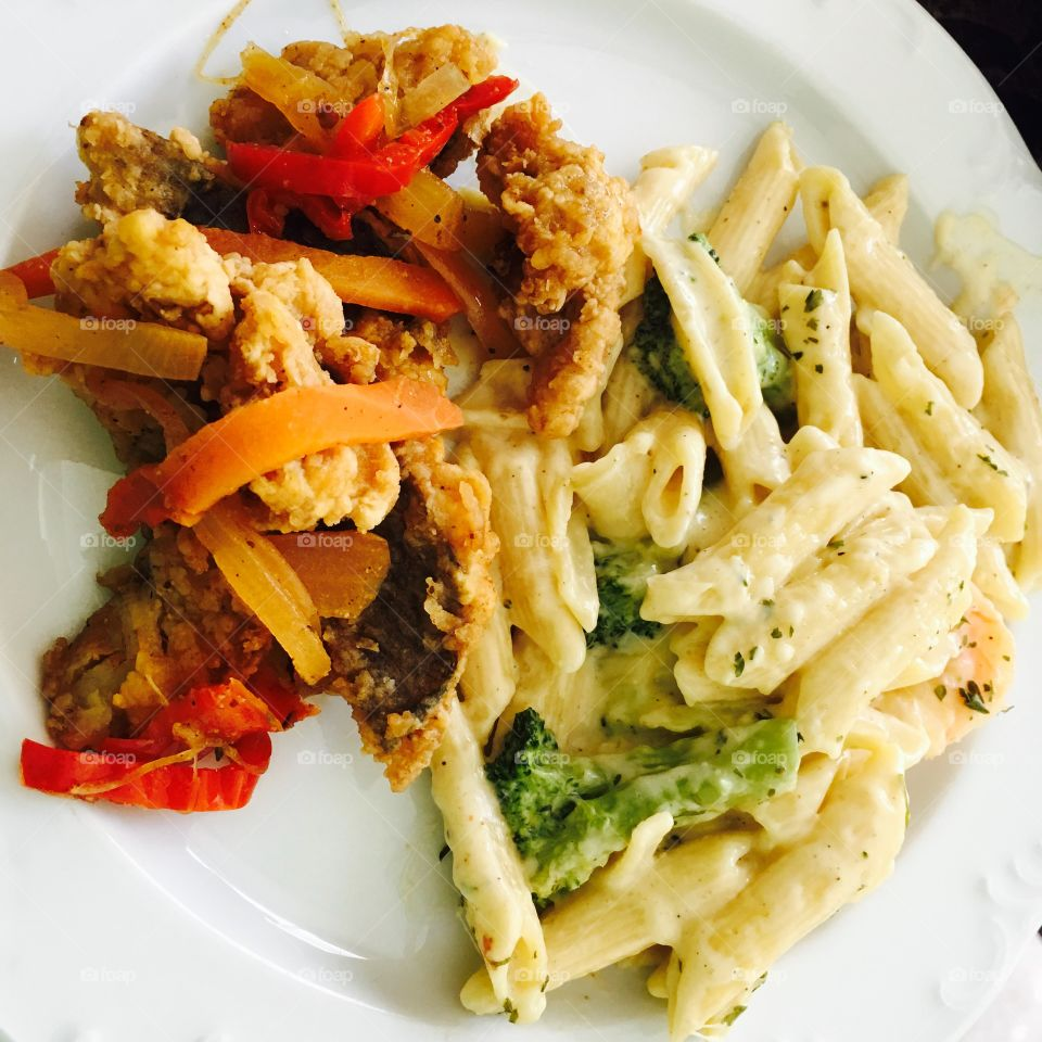 Shrimp pasta with whiting fish