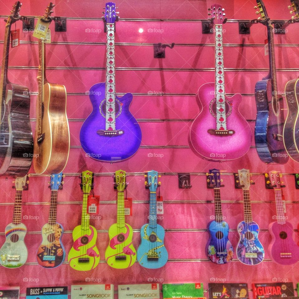 Guitars. Lots of different types of guitars
