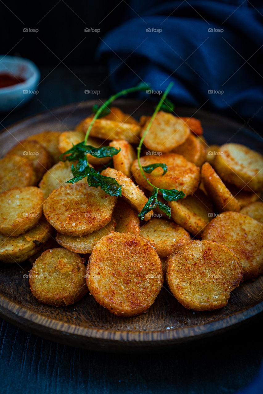 Taro roots deep fry
