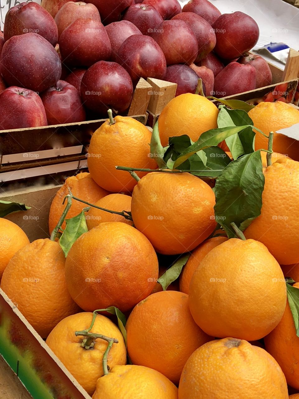 Fresh fruit and vegetables on display for sale at market