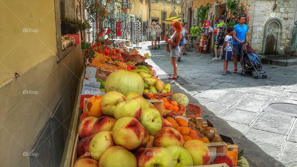 Market in Castellina in Chianti,  Tuscany, Italy.