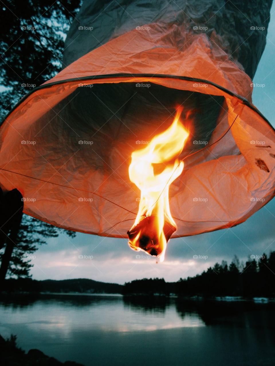 Sky lantern flying on sky