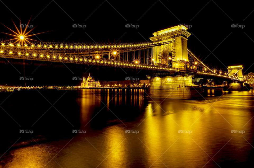 Illuminated Chain bridge at night