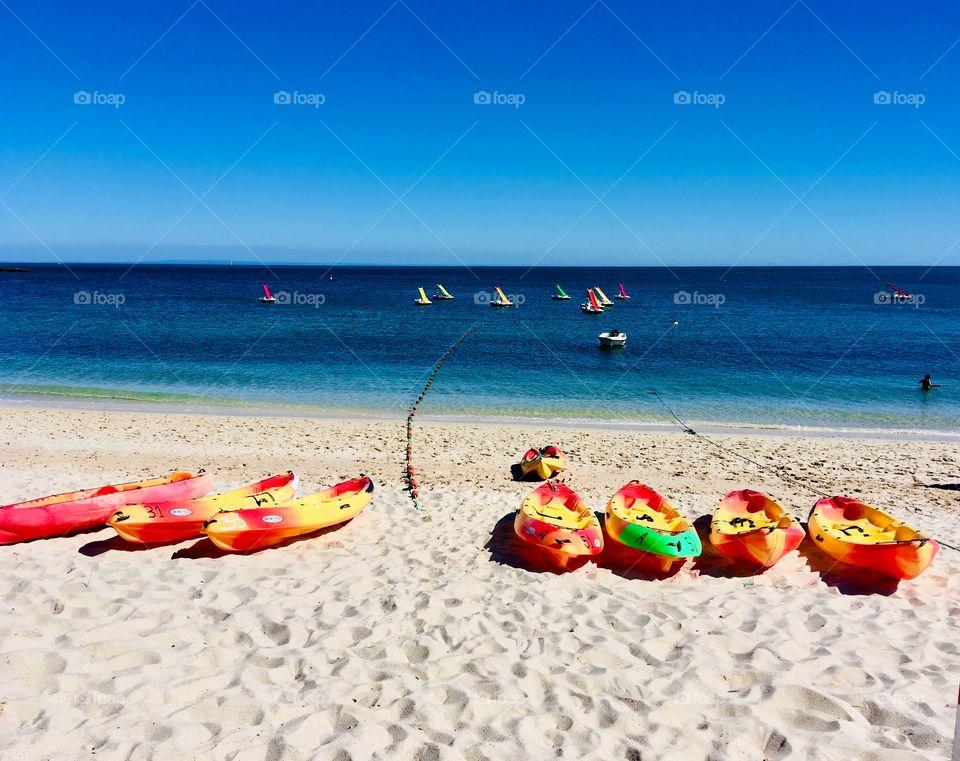 Beach, Paradise, Color, Boats, Canoe