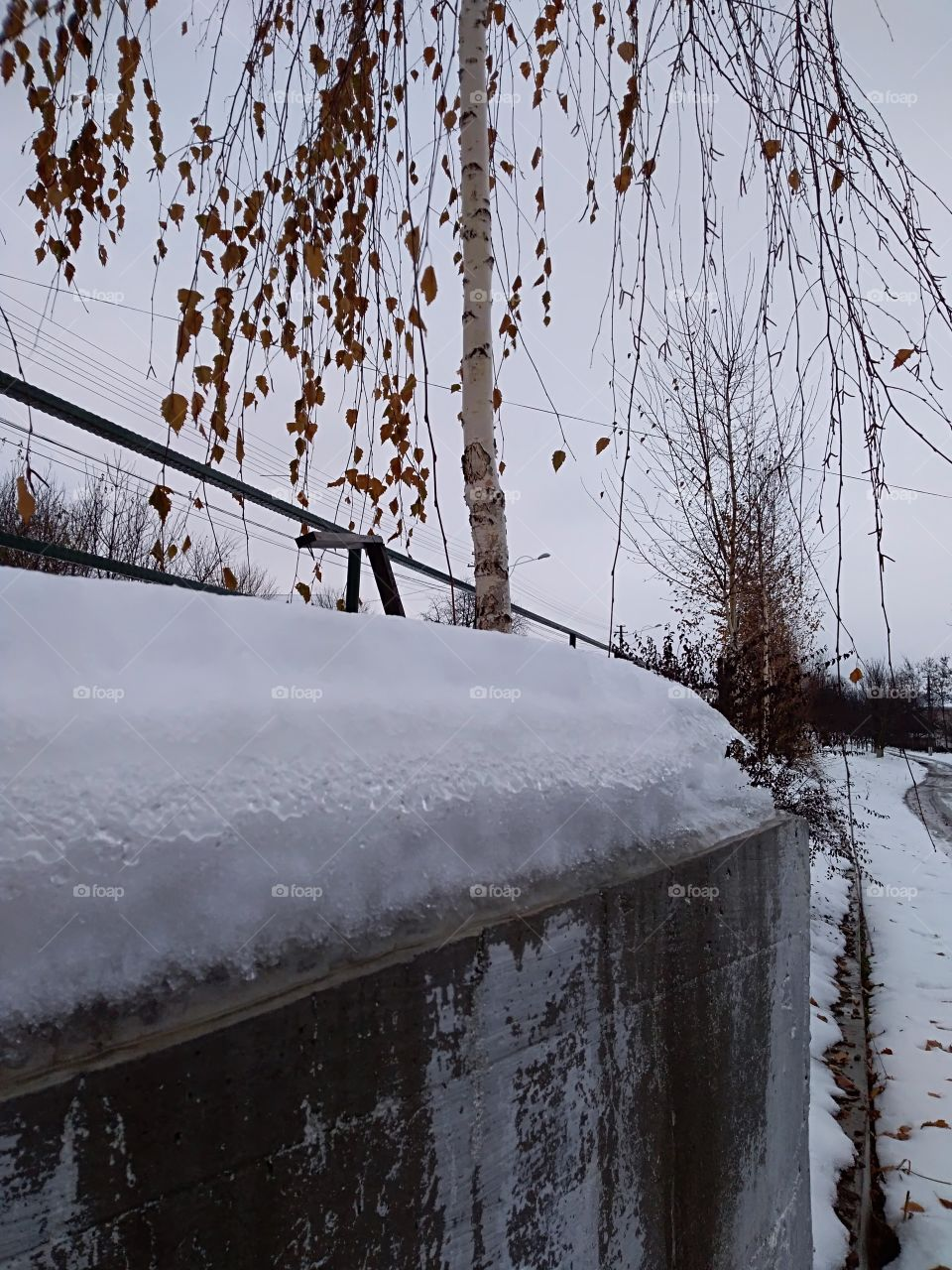wall covered with snow
