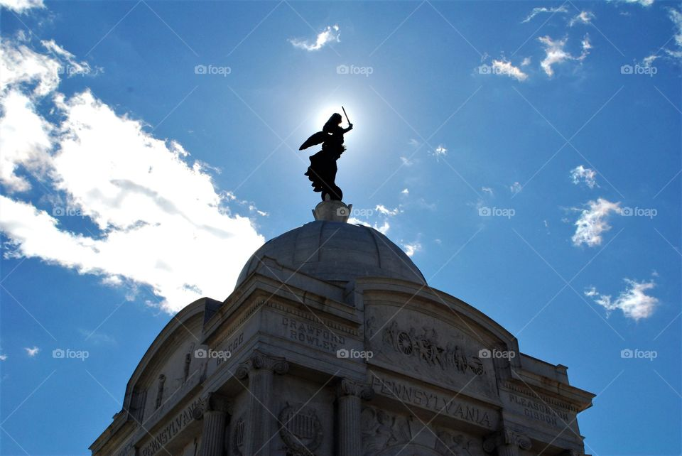 Top of  Pennsylvania Memorial on  Cemetery Ridge in Gettysburg PA. Completed in 1910. Goddess of Victory and Peace is on top.