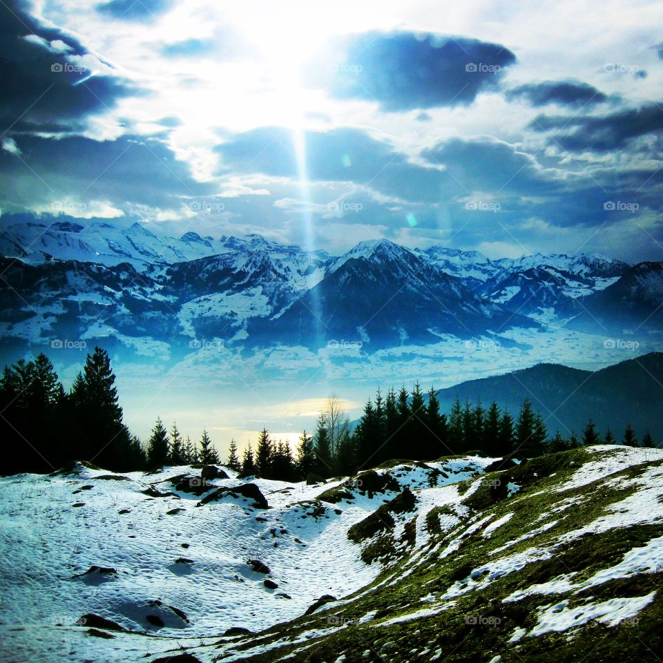 Scenic view of Swiss Alps in winter