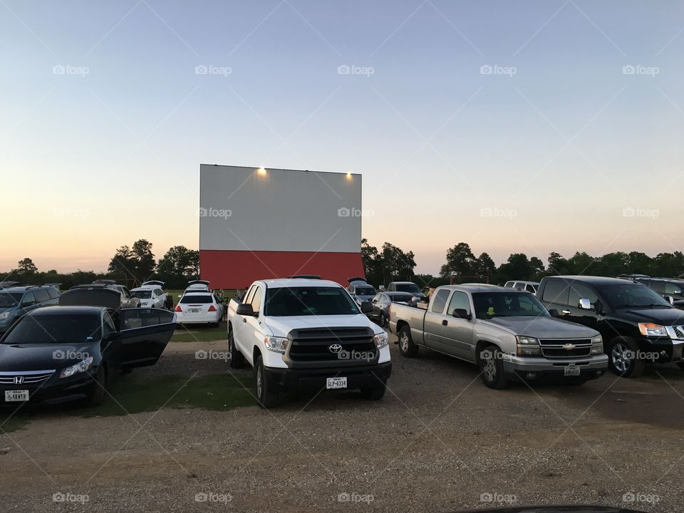 Drive-inn movie theater at sunset