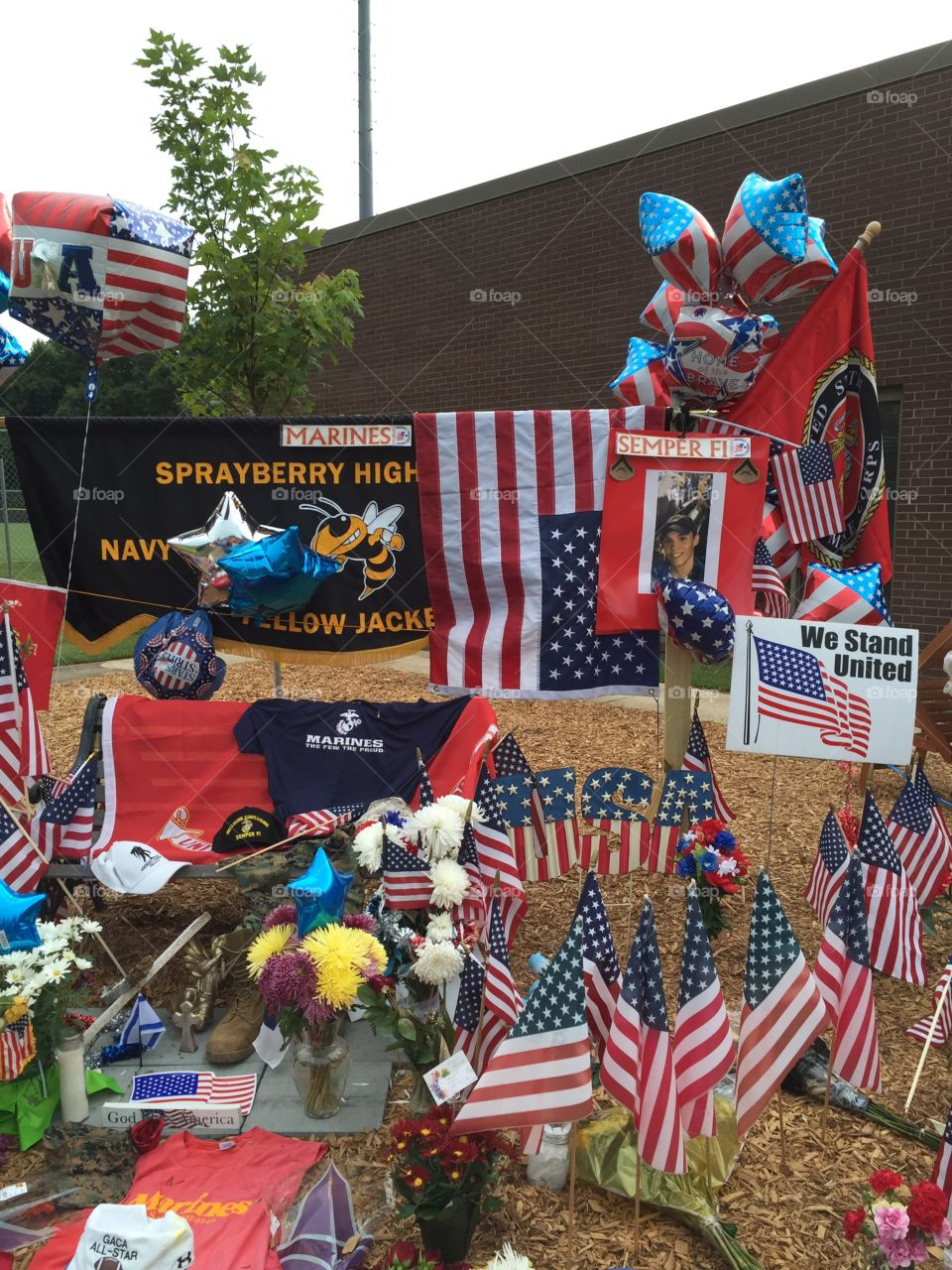 Memorial For Killed Marine . Memorial for Lance Corporal Skip Wells. Killed in the Chattanooga attack. This memorial is set up at his local H. School