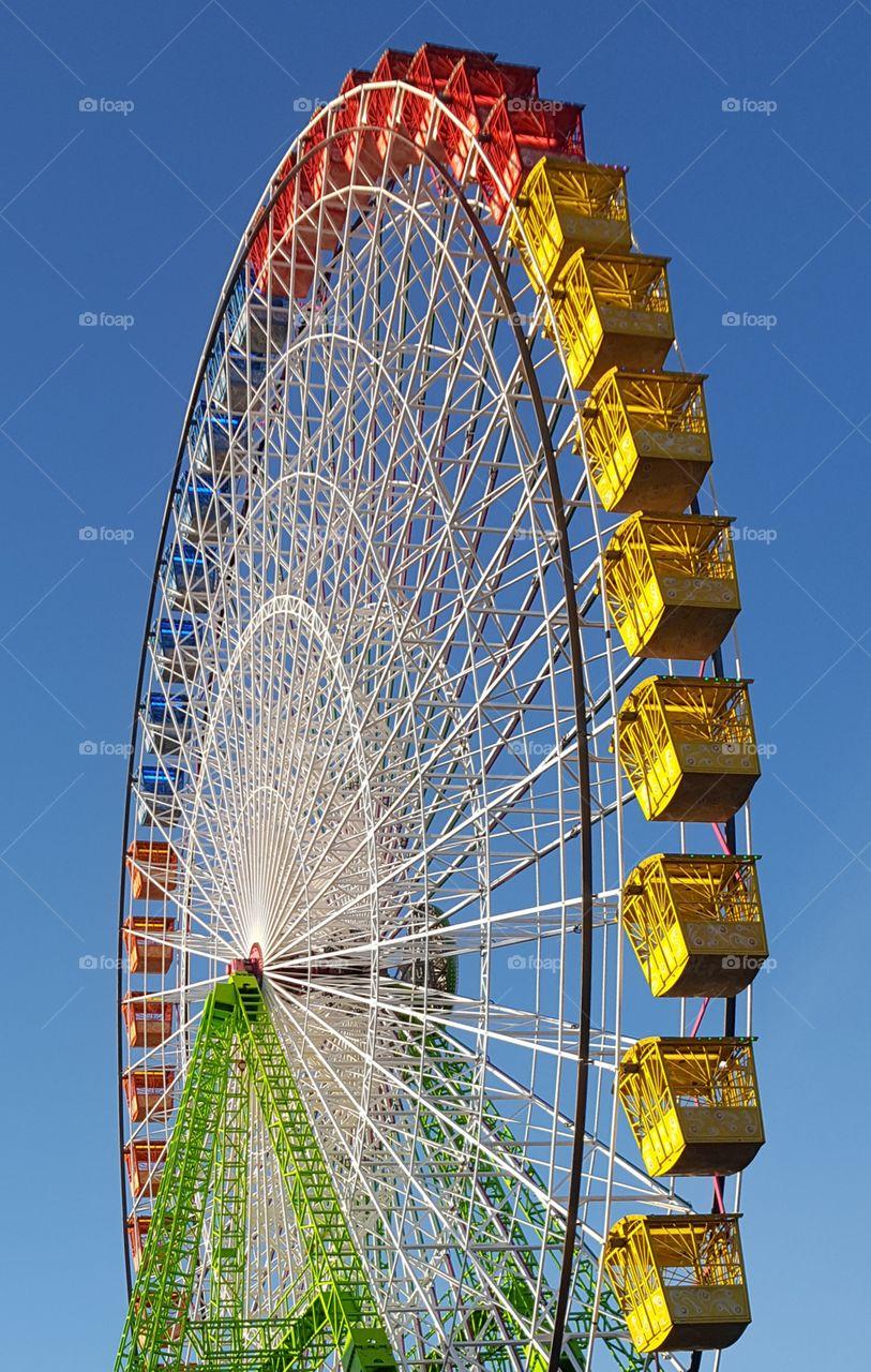 Big wheel against blue sky