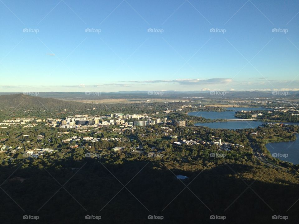 Canberra, Australia's capital, from the top of Black Mountain.