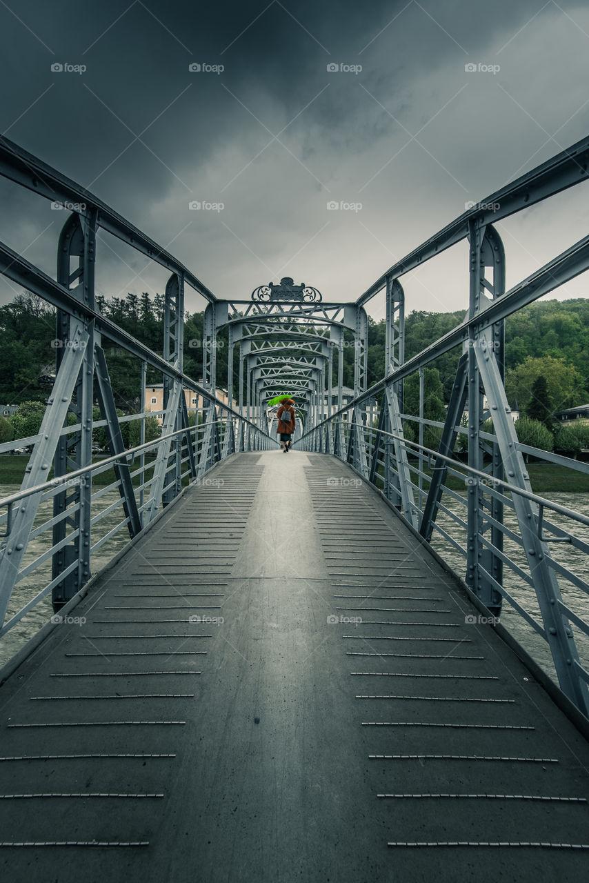 Salzburg, city bridge befor storm