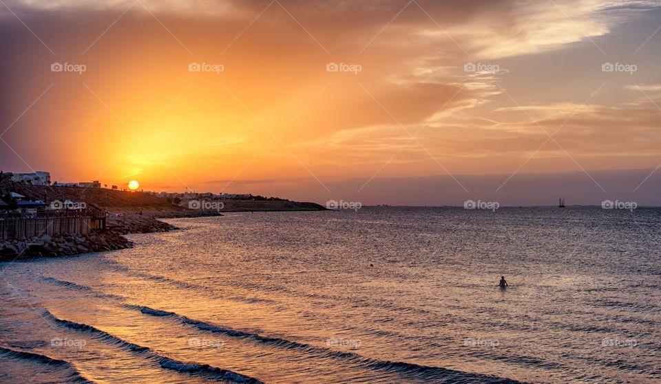 beautiful sunset in tunisia