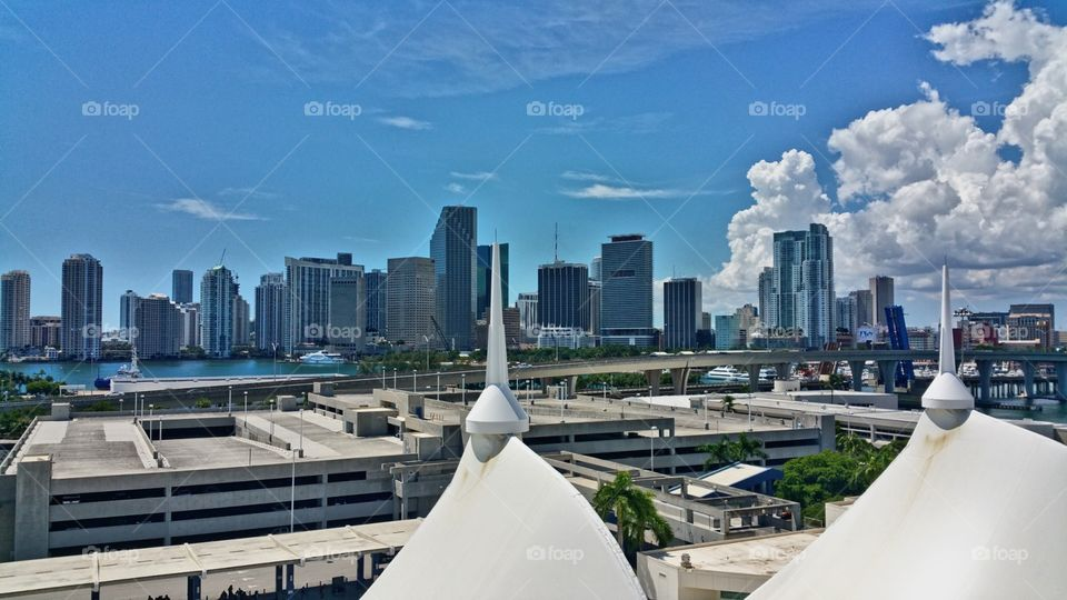 View of Miami from Cruise ship on Dodge island
