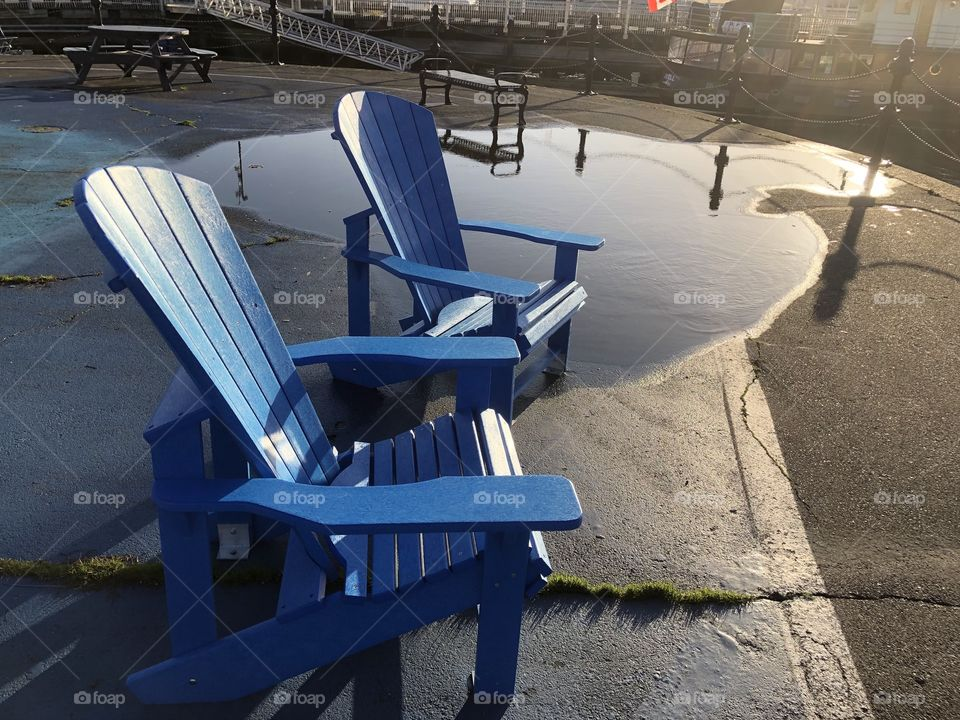 Beautiful Blue Chairs Vibrant Colourful Victoria Harbour Downtown