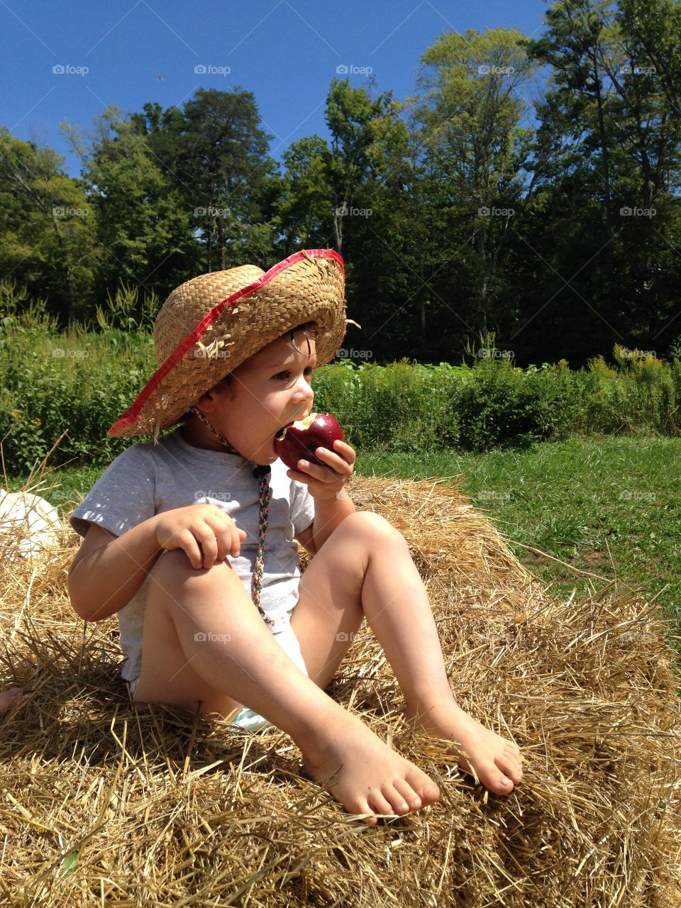View of young boy sitting on hay eating apple