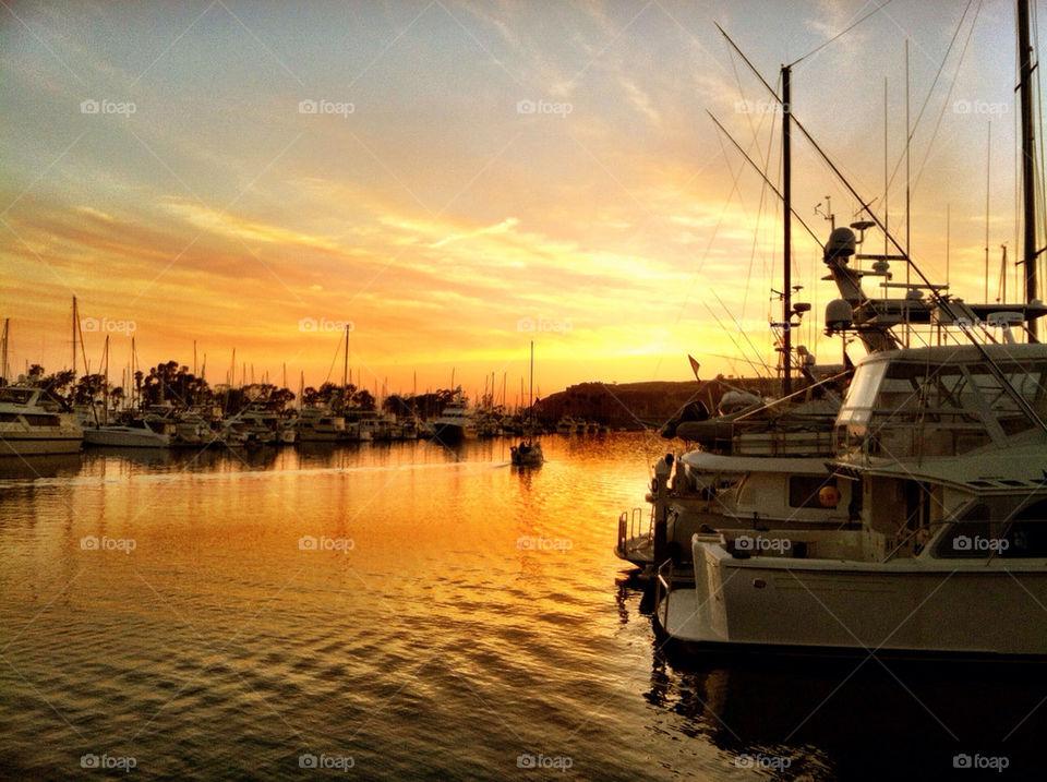 beach sunset boats california by oaslani