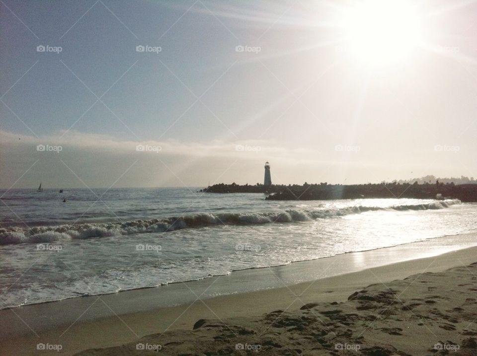 Twin Lakes State Beach in Santa Cruz, California.