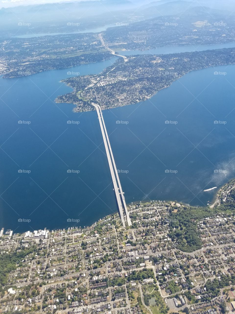 i-90 Bridge in Seattle from an Airplane