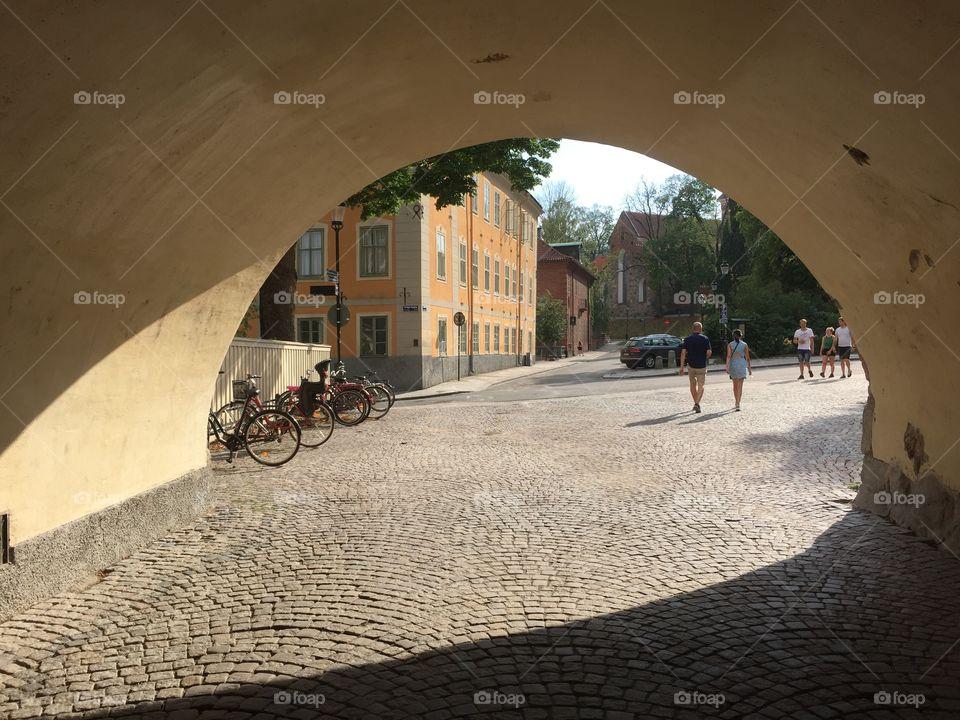 View through a portal in summertime