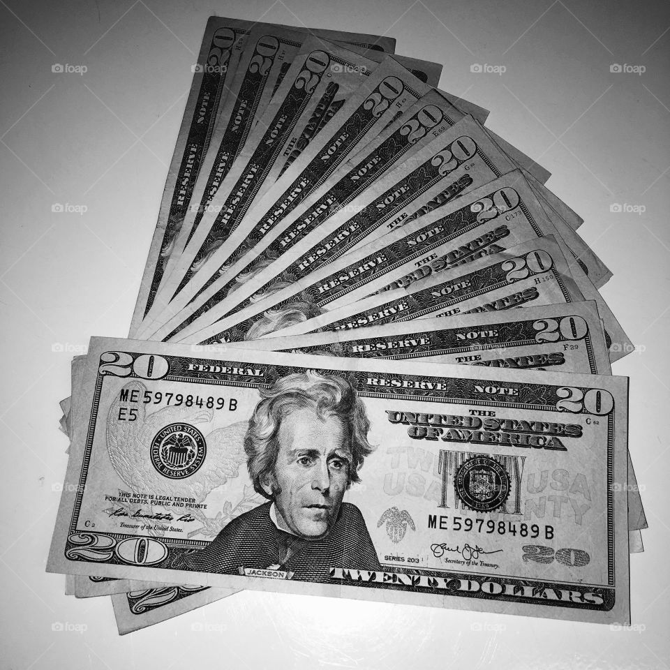 $20 bills Laid Out On Table, B & W photo