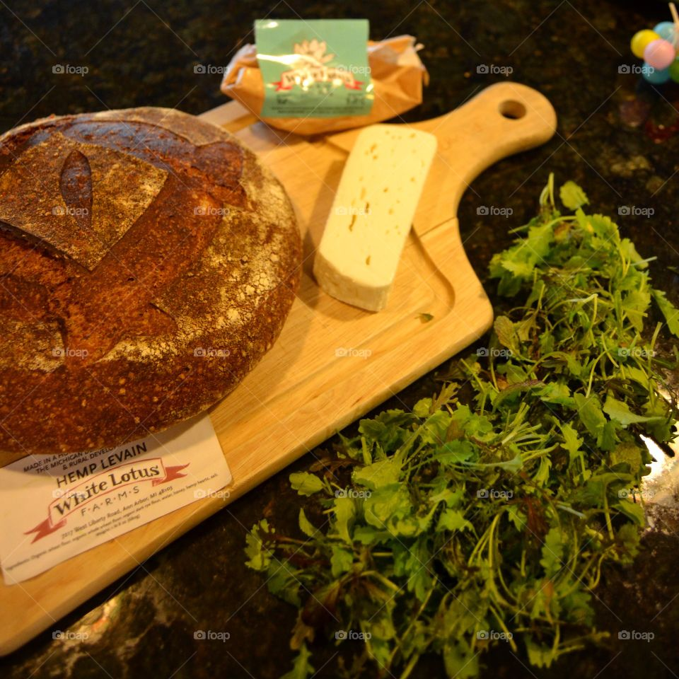 Ann Arbors Farmers Market . Hemp Levian Bread, Fresh Feta Cheese and Micro Greens from White Lotus Farms