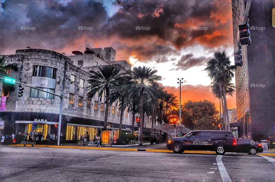 Dawn in Miami beach