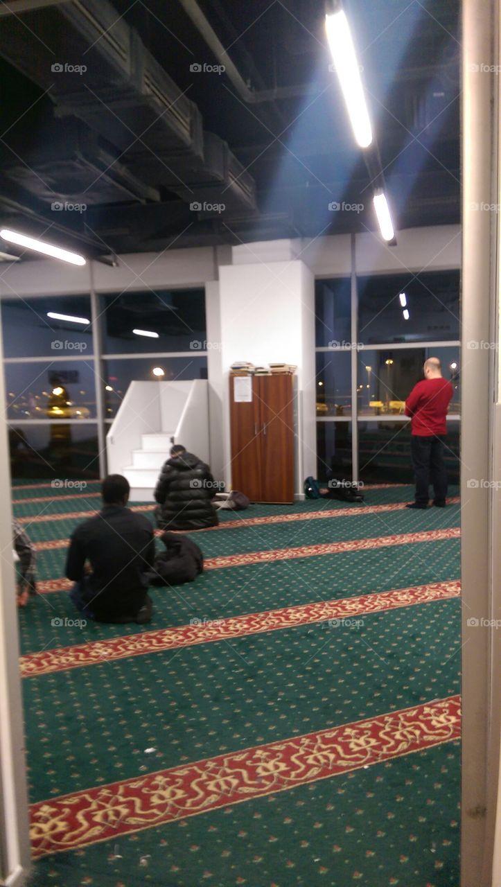 Men's prayer room at Ataturk International Airport in Istanbul, Turkey