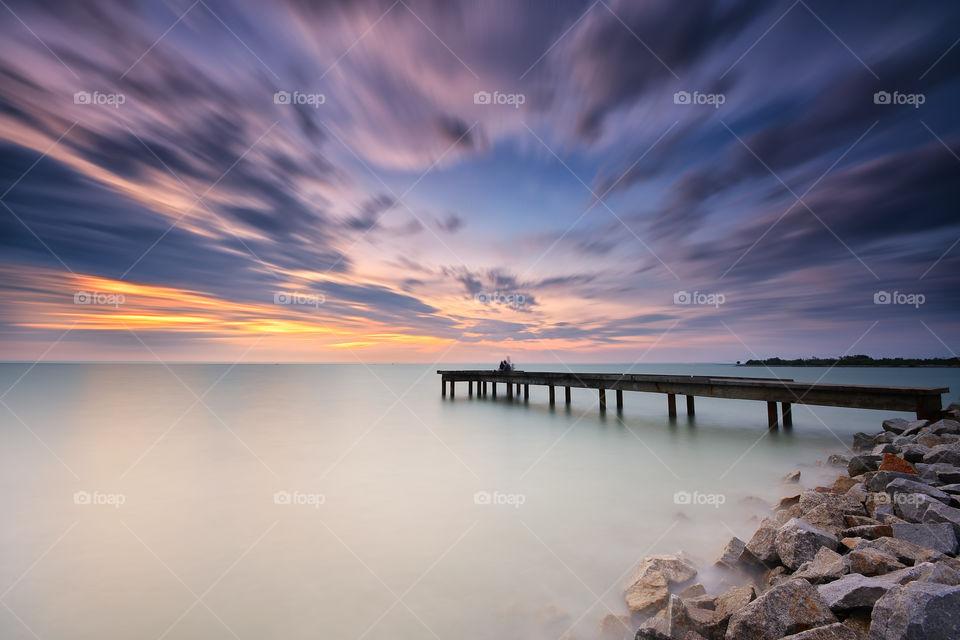 Long exposure sunset on the beach