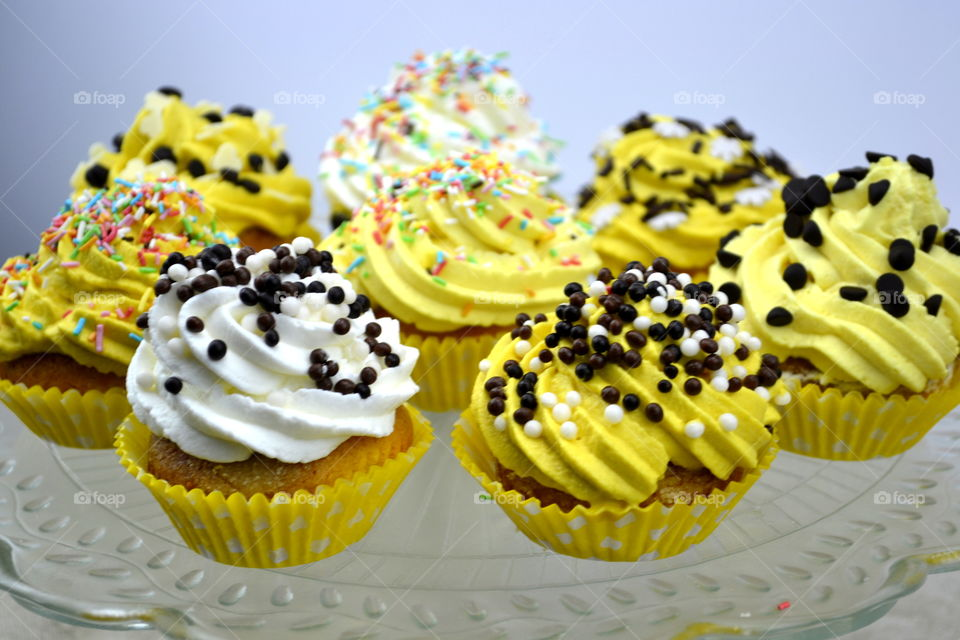 Sweet cupcakes in plate