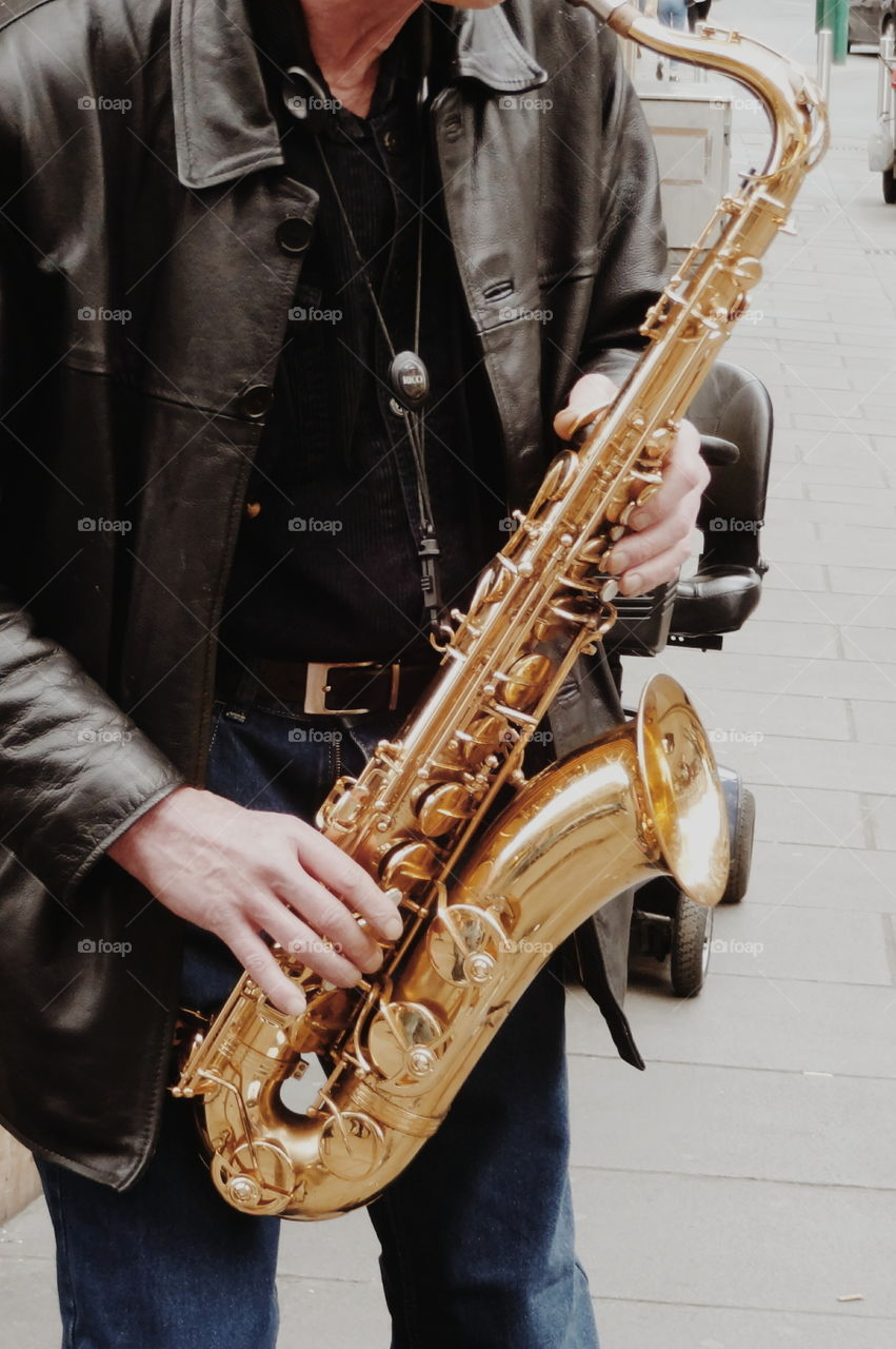 saxophone. street musican with passion