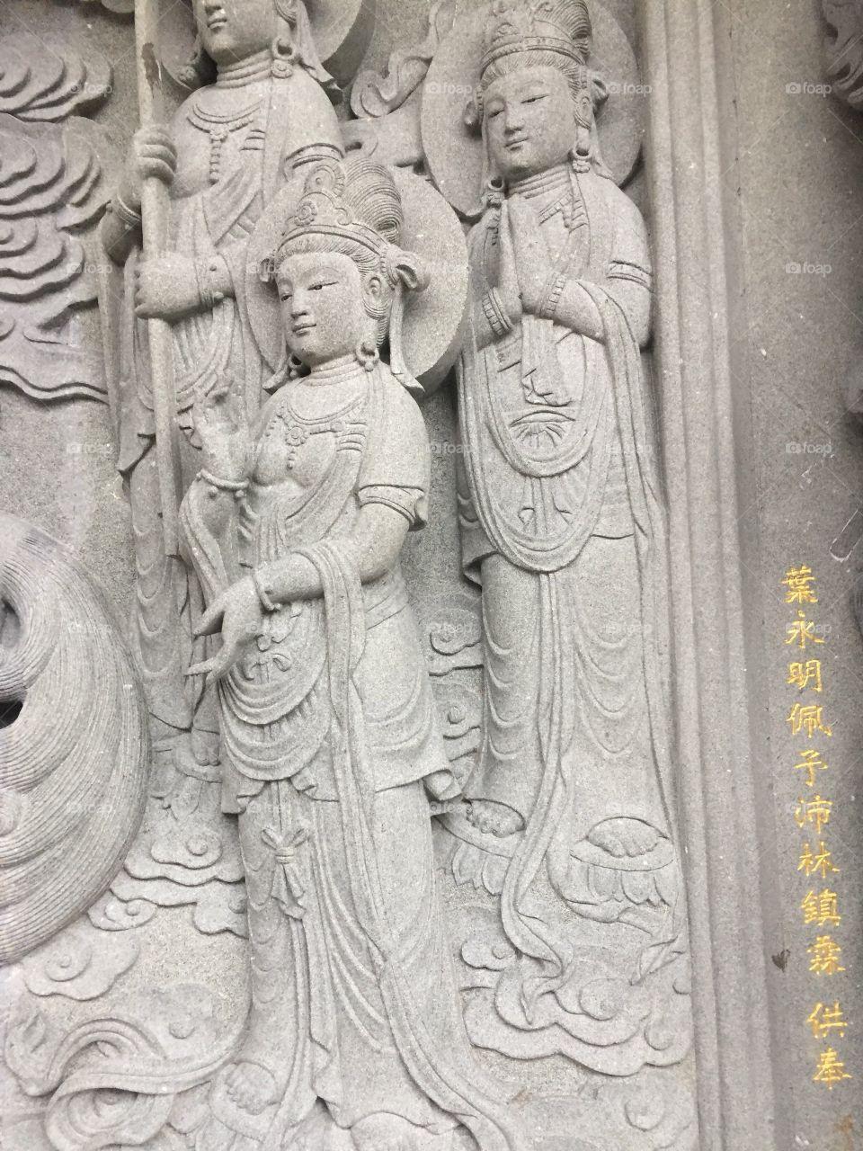 Buddha's Servants at Po Lin Monastery, Ngong Pin Village, Lantau Island, in Hong Kong