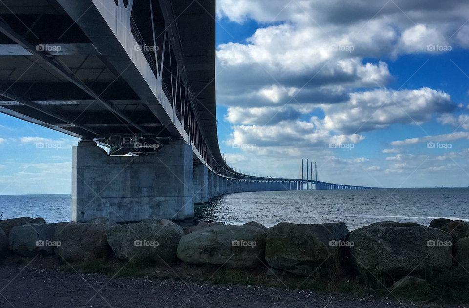 Öresunds bridge in Malmö crossing over to Copenhagen Denmark.
