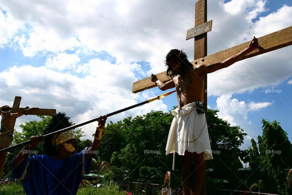 Re-enactment of the crucifixion of jesus christ in philippines