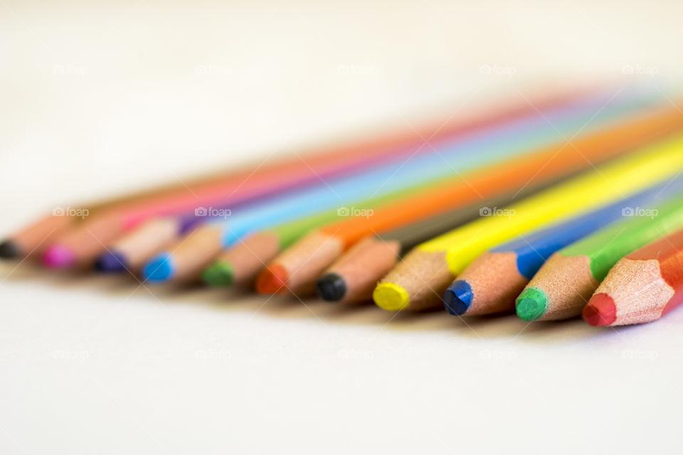 Close-up of multi coloured pencils