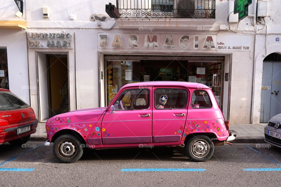 Sweet pink ride spotted in Ibiza, Spain