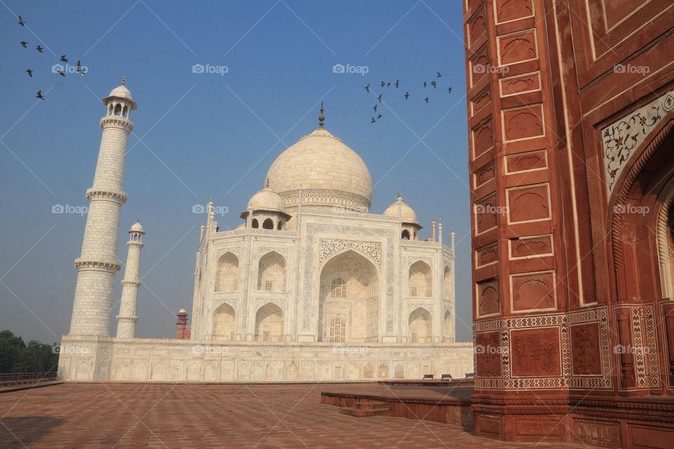 Taj Mahal exterior building with mausoleum, Agra, Uttar Pradesh, India