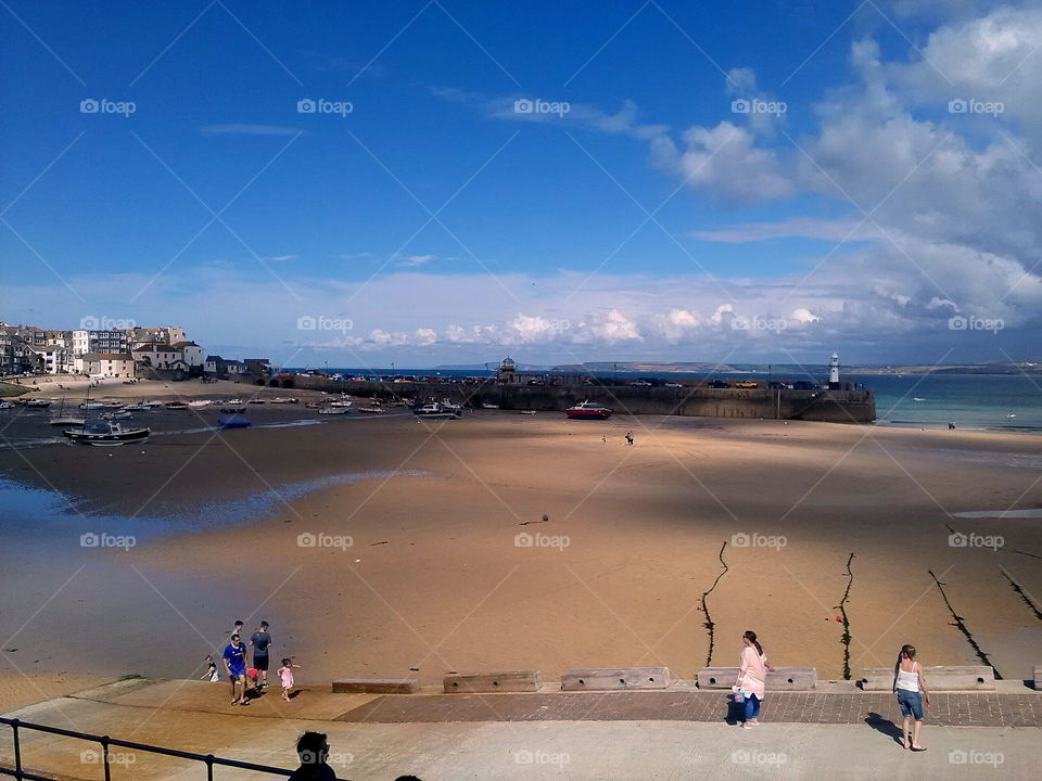 St Ives Cornwall UK overview of the harbour at low tide