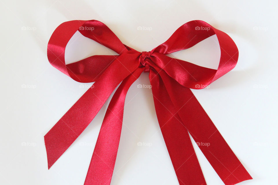 High angle view of red tied bow