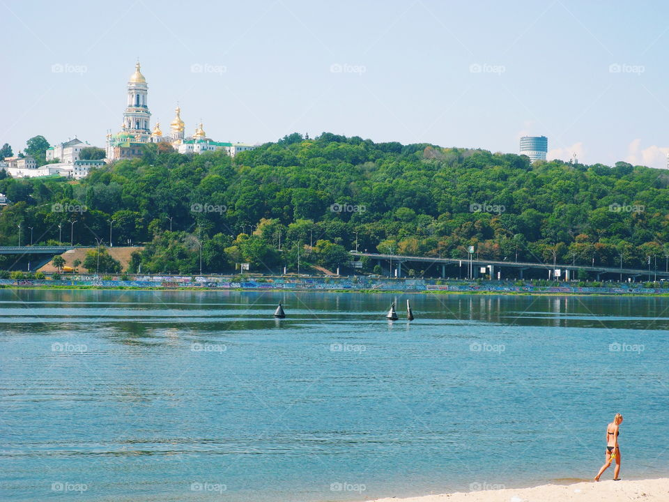 city beach at Hydropark in the city of Kiev, summer 2017