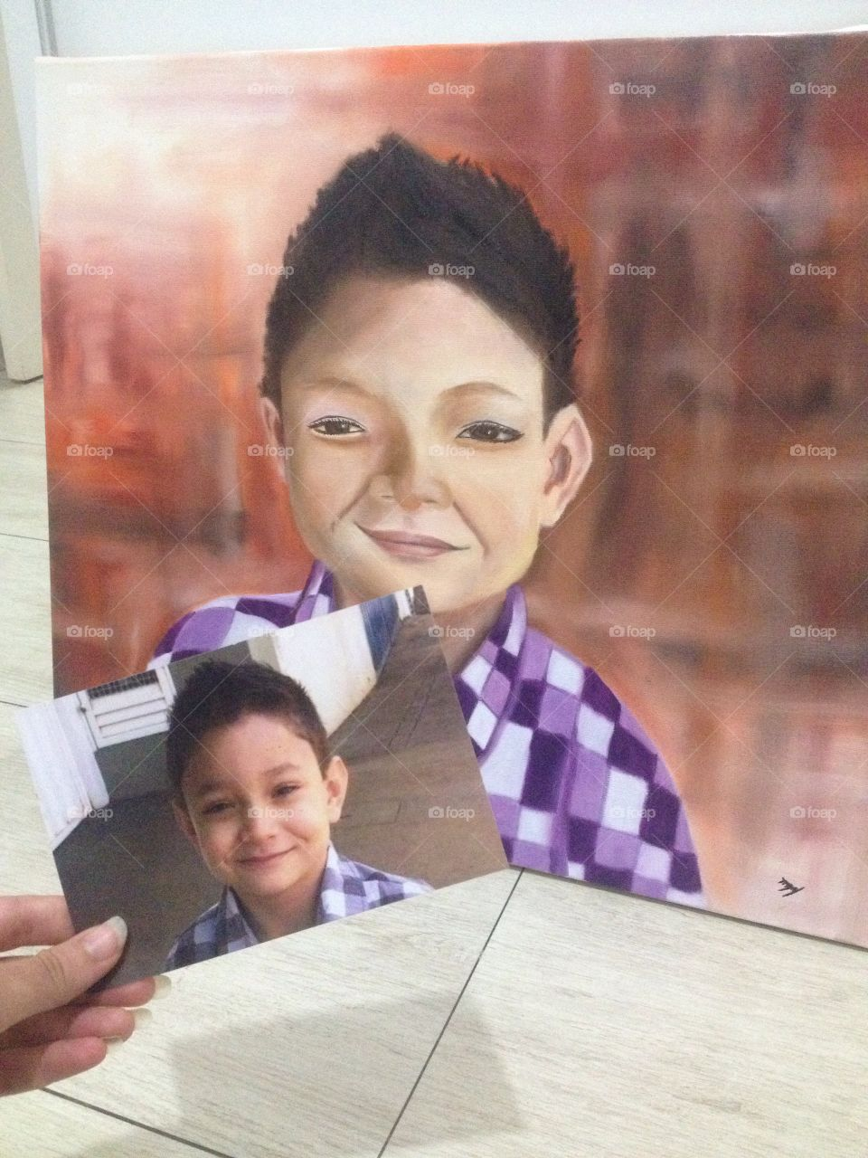 Art paiting human face little boy kid, colors and drawn picture place and purple shirt