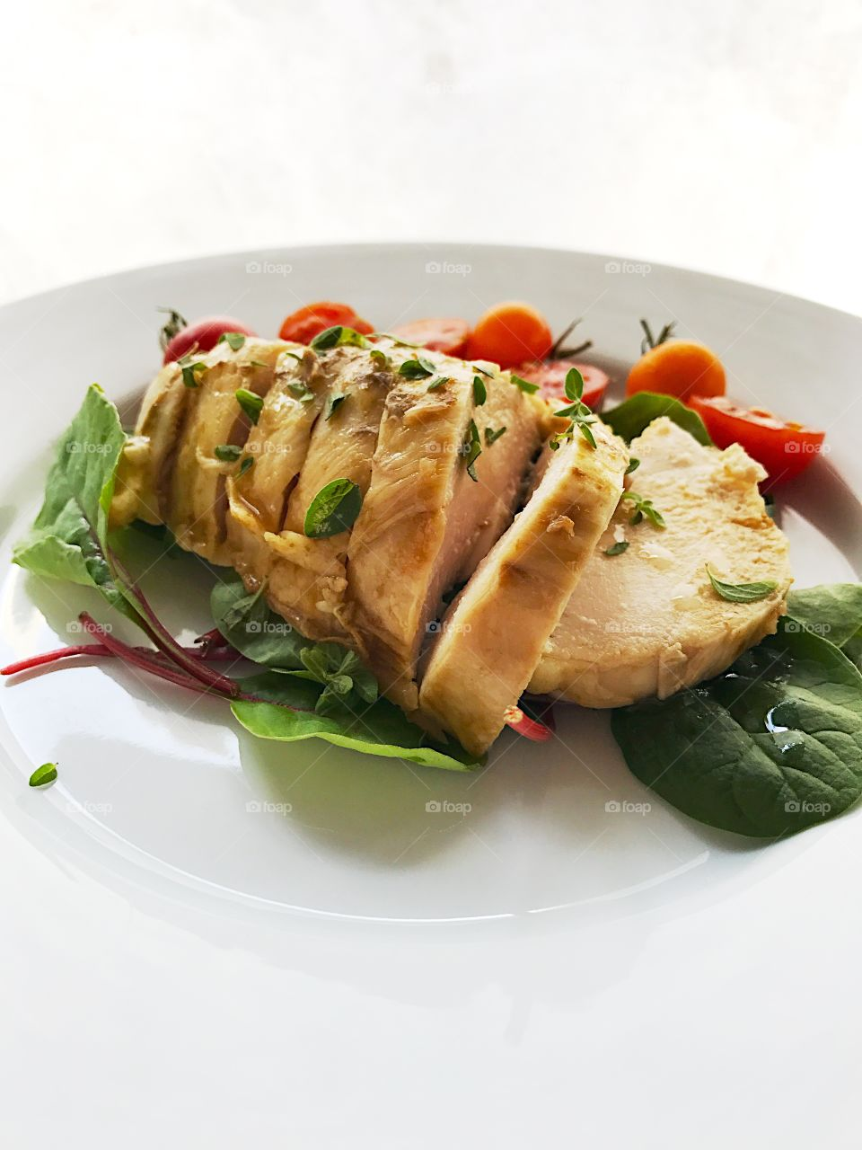 Chicken breast with fresh oregano and copy space
