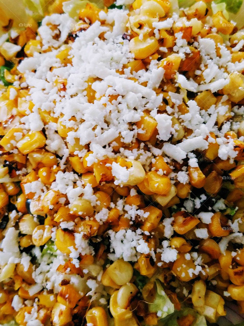 Mexican corn salad with cheese