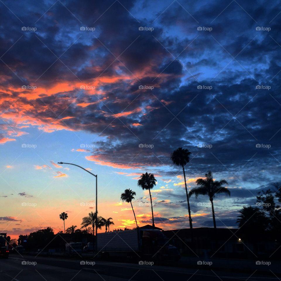Sunset over Calabasas . Sunset over Calabasas, California.